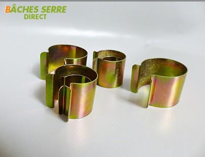 20 Clips métalliques revêtement zinc - 30mm x 30mm - pour serre tunnel en plastique