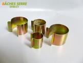 20 Clips métalliques revêtement zinc - 25mm x 30mm - pour serre tunnel en plastique