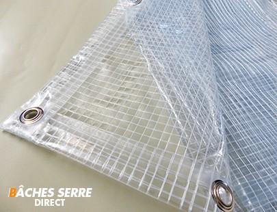 Bache serre de jardin 400g/m² PVC - 3.8x4m - bache transparente armée pour serre - serre tunnel